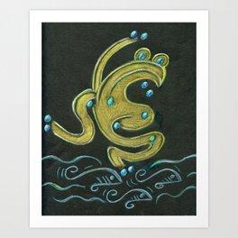 Golden tree frog (Coqui dorado) Art Print