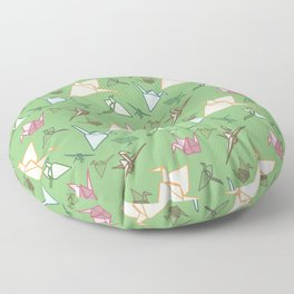 Paper cranes playful origami pattern Floor Pillow