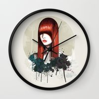 redhead Wall Clocks featuring The Redhead by Nettsch