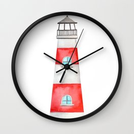Watercolor Lighthouse Wall Clock