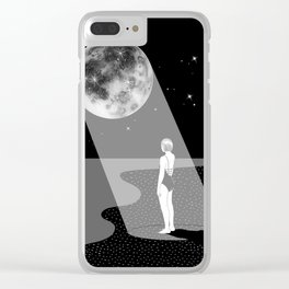 The moon knows me Clear iPhone Case