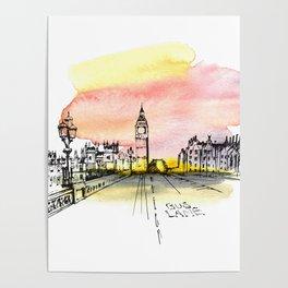 London, Big Ben. Watercolor and ink. Poster