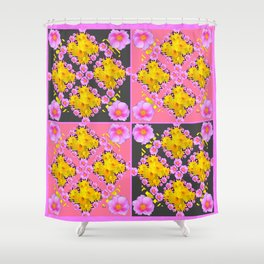 Pink-Grey Quarter Panel Floral Pattern Shower Curtain