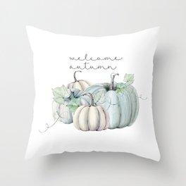 welcome autumn blue pumpkin Throw Pillow