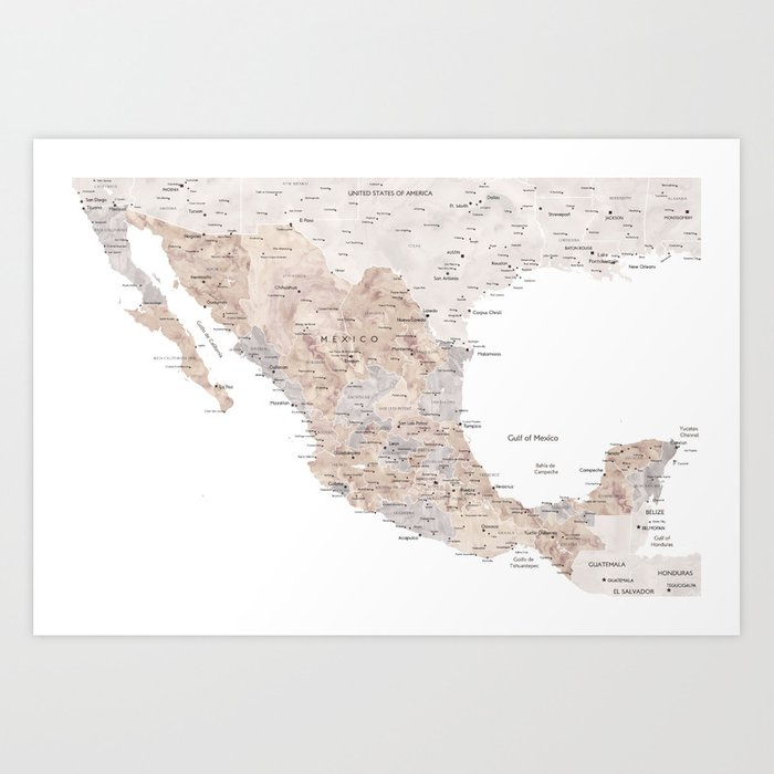 Detailed map of Mexico in neutral watercolor Art Print