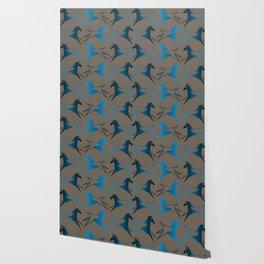 Blue Brown War Horse Wallpaper