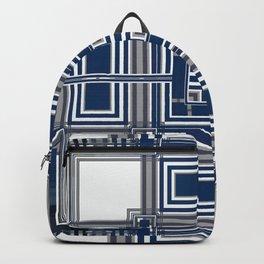 Grey Blue Squares Backpack