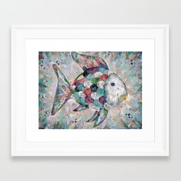 Rainbow Fish Collage Framed Art Print