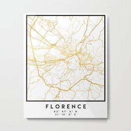 FLORENCE ITALY CITY STREET MAP ART Metal Print