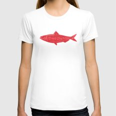 Swedish Fish White Womens Fitted Tee SMALL