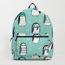 Christmas penguin cute animal pattern winter holiday gifts mint Backpack