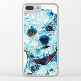 Small Cute Dog Art - Who Me? - Sharon Cummings Clear iPhone Case