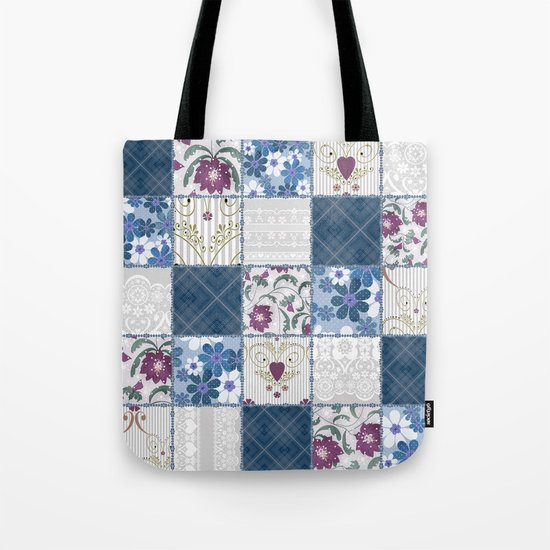 Patchwork  floral lace pattern background Tote Bag