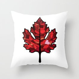 A Maple Leaf with Heart Throw Pillow