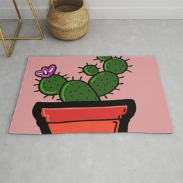 Cute Prickly Potted Cactus Rug
