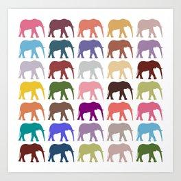Colorful Elephants - Pink Purple Green Blue Art Print