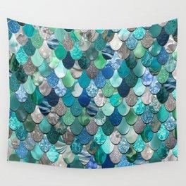 Mermaid Pattern, Sea,Teal, Mint, Aqua, Blue Wall Tapestry