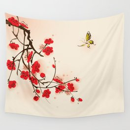 Oriental plum blossom in spring 011 Wall Tapestry
