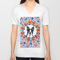boston terrier V-neck T-shirts featuring Boston Terrier  by Lorraine Stylianou