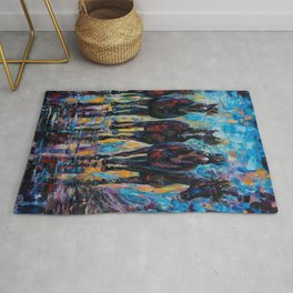 Free Roaming Wild Horses  Painting with a Palette Knife by OLena Art  Rug