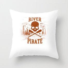 River Pirate Skull Halloween Throw Pillow