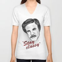 """anchorman V-neck T-shirts featuring """"Stay classy"""" Ron Burgundy - Anchorman by Tom Brodie-Browne"""