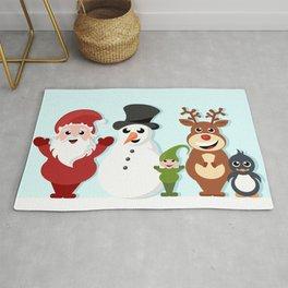 Christmas cartoon characters - Santa Claus, snowman, reindeer, elf and penguin Rug