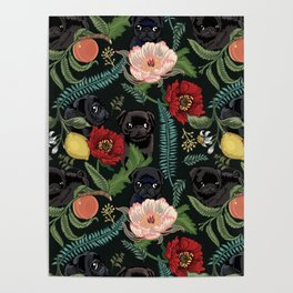 Botanical and Black Pugs Poster