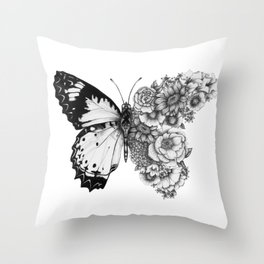 Butterfly in Bloom Throw Pillow