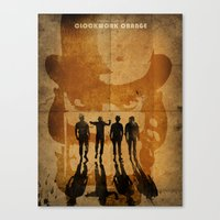clockwork orange Canvas Prints featuring CLOCKWORK ORANGE by Fan Prints