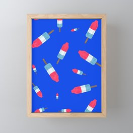 Popsicles - Retro Pattern - (cobalt blue background) Framed Mini Art Print