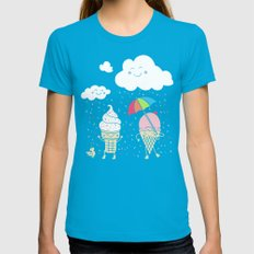 Cloudy With A Chance of Sprinkles Womens Fitted Tee Teal SMALL