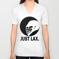 lacrosse V-neck T-shirts featuring Lacrosse Just Lax Helmet by YouGotThat.com