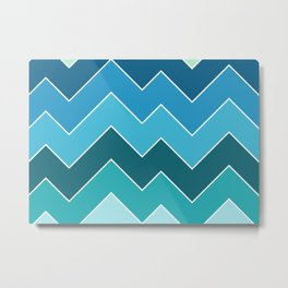 Retro Blue Seasonal Mid-Century Minimalist Geometric Line Abstract Art Metal Print