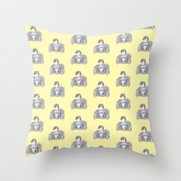 Sulky Sherlock - Yellow Throw Pillow