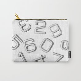 Silver numbers on white Carry-All Pouch
