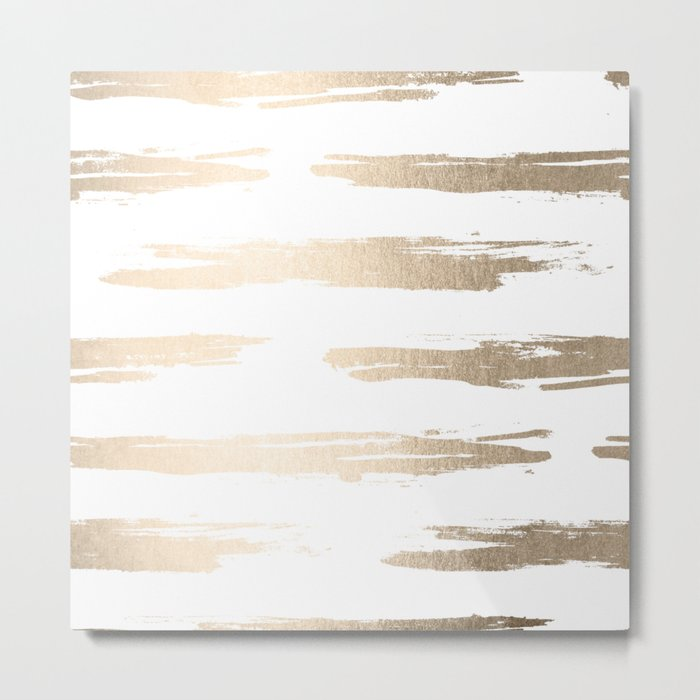 Simply Brushed Stripe White Gold Sands on White Metal Print