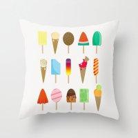 ice cream Throw Pillows featuring Ice Cream by Céline Dscps