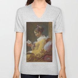 Jean Honoré Fragonard Young Girl Reading c. 1769 Painting Unisex V-Neck