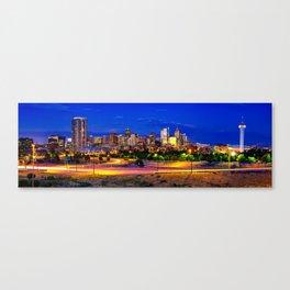 Denver Colorado Skyline Panorama Over the Speer Boulevard Bridge Canvas Print