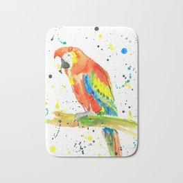 Parrot (Scarlet Macaw) - Watercolor Painting Print Bath Mat