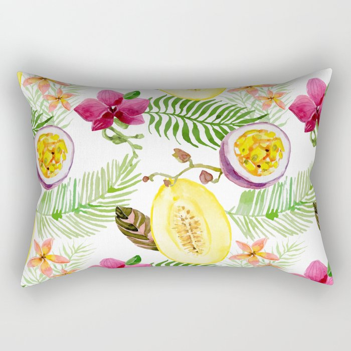 Tropical palm leaves fruit Rectangular Pillow