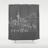 seattle Shower Curtains featuring Seattle by Kelsey Malie
