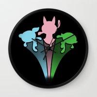powerpuff girls Wall Clocks featuring Powerpuff Girls by SBTee's