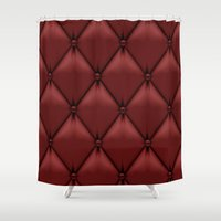 leather Shower Curtains featuring red leather by Cardinal Design