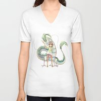 calcifer V-neck T-shirts featuring Chihiro and Haku by CromMorc