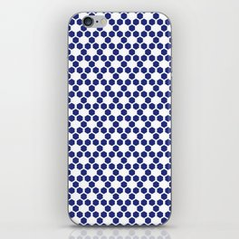 White and navy blue hexagons iPhone Skin