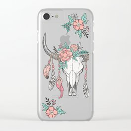 Boho Longhorn Cow Skull with Feathers and Peach Flowers Clear iPhone Case