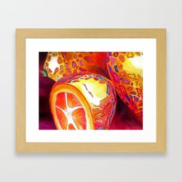 Orange kumquat citrus pop art watercolor fruit Framed Art Print