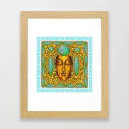 TURQUOISE ART DECO & FIRE OPALS GOLD BUDDHA ABSTRACT Framed Art Print